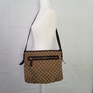 New GUCCI GG Monogram Messenger Bag Dark Brown